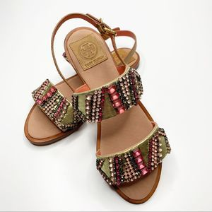 TORY BURCH Tanner Jeweled Sandal Pink Tan Size 6.5